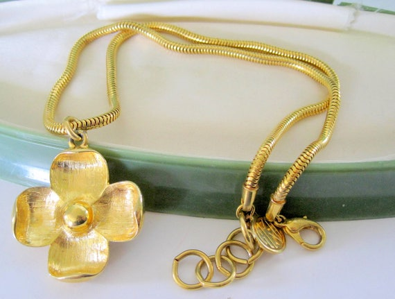 Anne Klein  Necklace, Gold Flower Pendant, Signed Snake Chain