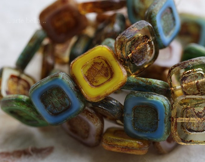 CARVED SQUARE MIX .. New 10 Premium Picasso Czech Glass Square Beads 12mm (6319-10)