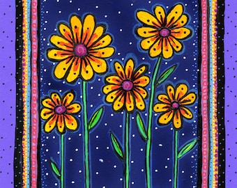 Yellow flowers purple navy blue Print by Shelagh Duffett