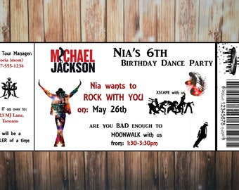 Michael Jackson Birthday Invitation, Concert Ticket, digital