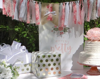 First Birthday Girl ~ 1st Birthday Coral Pink Roses Banner ~ Shabby Chic Rag Banner ~ Rag Garland Banner