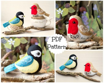 Cute birds: Robin and Great tit (PDF Pattern)