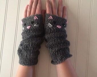 Adorable Kitty Cat Extra Long Fingerless Gloves in Dark Grey