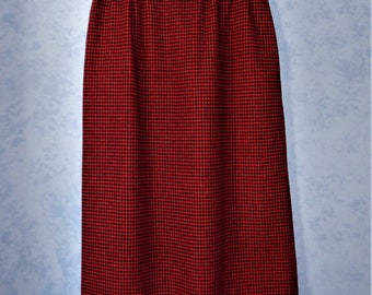 GLENWICK Red Black Houndstooth Wool Midi Length SKIRT ~ Vintage 1980s 80s Lined Skirt ~ Womens 10 fits todays size 8 ~ Waist 26 inches
