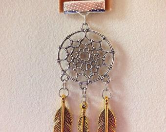 Dream Catcher Feather Charm Brown Bookmark