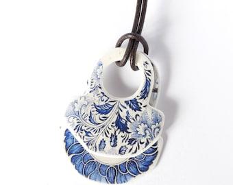 Double Pendant Necklace white blue