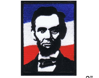 """Abe Lincoln Iron On Patch 3"""" x 2 1/2"""" Free Shipping by Dave Cherry 4755"""