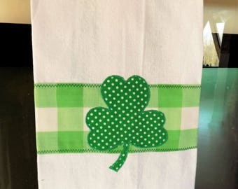 Shamrock Cotton Kitchen Dish Towel, Applique Clover Leaf Embellished Woven Cotton Towel, Green and White Hanging Tea Towel