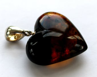 "Baltic Amber Heart Pendant Honey Cognac with Inclusions 1.66"" 7.6 gram 925 Silver"
