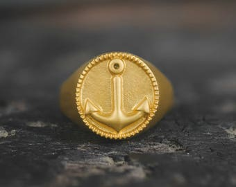Gold Anchor Ring, Sailor Jewelry, ,Mens Gold Ring, Mens Rings, Male, Guys, Birthday, Gift, Husband, Boyfriend, Gold Ring