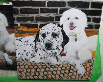 Pet Portrait 6 x 6 inch Ceramic Tiles Hand Painted and Made to Order using your photo Dalmatian by Shannon Ivins