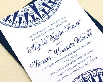 Nautical Wedding Invitation, Compass Wedding Invitation Set, Nautical Wedding Invitations