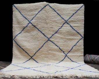 7x9 Blue Beni Ourain rug - Large Beniourain carpet - 100% wool rug - Morocco rug - Area rug - White rug - Beni Berber rug - Tapis Teppich