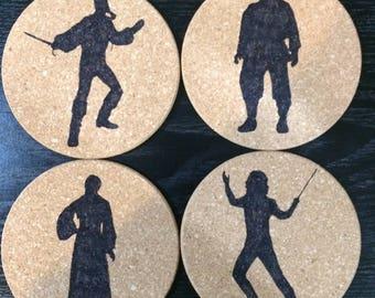Set of 4 round cork Princess Bride coaster-Buttercup, Fezzik, Dread Pirate Roberts, Inigo Montoya