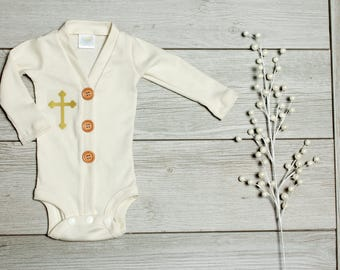 Cream Baby Boy Baptism Cardigan Outfit. Off-white Christening Clothes for Boys. Baby Cardigan Bodysuit. Infant Newborn. Gold Cross.