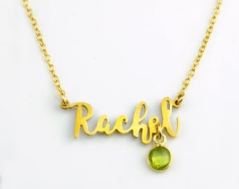 Custom Name Necklace, Birthstone Nameplate necklace gold, Personalized Name Jewelry, My Name Necklace