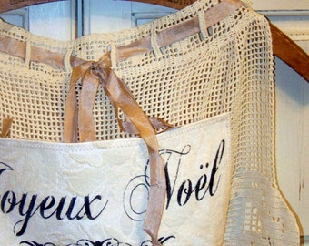 PARIS on sale Christmas Apron, lace, kitchen decor