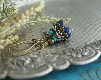 """Bohemian """"Floral Blues"""" Long Dangle Earrings, Boho Chic Gypsy Rustic Crystal Beaded Turquoise Earrings, Womens Gift for Mother Sister ByLEXY"""