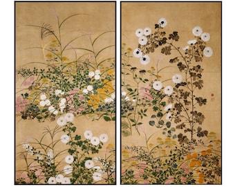 Autumn Flowers Print - Vintage Botanical Print - Japanese Vintage Print - Japanese Art - Botanical - Digital Print - Digital Download