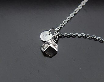 Foodie Gift  Milk Carton Charm Necklace Milk Necklace Milk Charm Personalized Necklace Initial Necklace Initial Charm Monogram