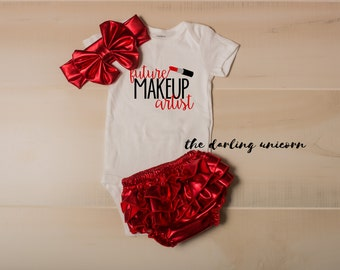 Future Makeup Artist infant girl bodysuit, baby girl bodysuit, newborn coming home outfit, infant outfit, newborn outfit, makeup artist