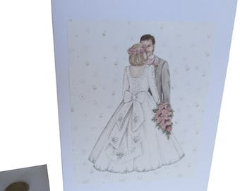 Wedding Card, Couple Wedding Card, Perfect Day Card, Wedding Couple Card, Decoupage Wedding Card