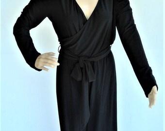 CACHE Designer Black Open Shoulder Belted Elegant Jumpsuit - Size Large