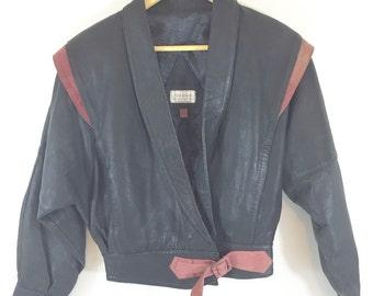 Vintage 80's Leather Batwing Dolman Sleeve Two Tone Jacket