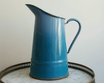 Blue enamelware vintage pitcher - French vintage vase - French enamelware pitcher - French blue enamelware vase - blue pitcher