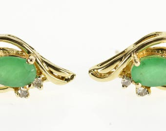 14k Emerald Diamond Accented Wavy Post Back Earrings Gold