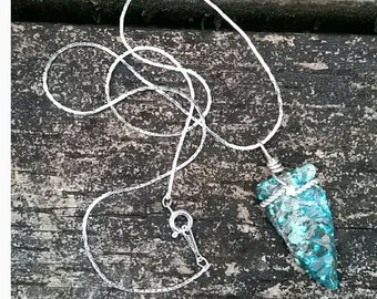 "Carved Turquoise Arrowhead Sterling Silver 18"" Necklace Pendant"