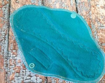 9-Zoll-Türkis Baumwolle Velours Tuch Pad leicht zu Medium-Fluss Menstruationsschmerzen Tuch Damenhygiene
