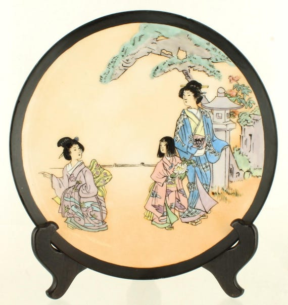 Antique Asian Geisha Scene Wall Cabinet Porcelain Plate Signed