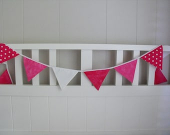 Fabric Bunting in Spots/Pink /White for Nursery/Bedroom