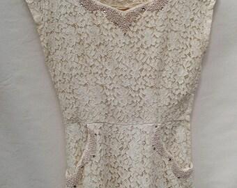 vintage lace dress; 50s lace dress; handmade dress; cream lace dress; wedding guest dress; fancy dress; occasion dress; vintage party dress