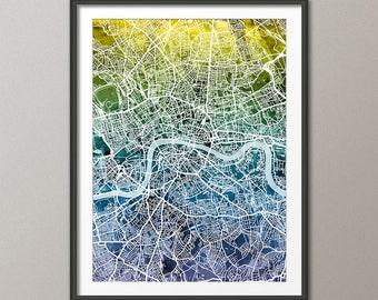 London Map, City Street Map of London England, art print (3033)