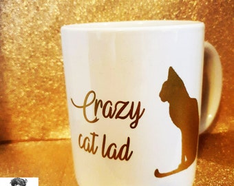 crazy cat lad metallic gold mug