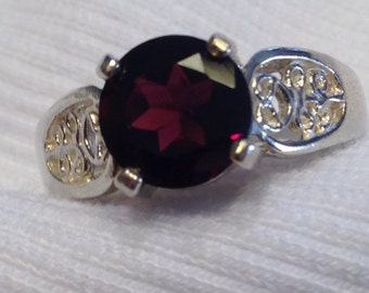 Natural Garnet Sterling Silver Ring