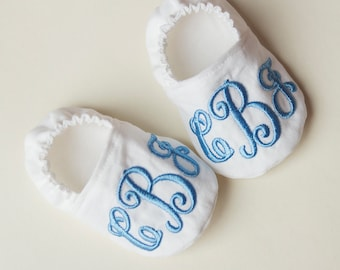 Monogrammed baby shoes, baby booties, monogram crib shoes, baptism shoes, coming home