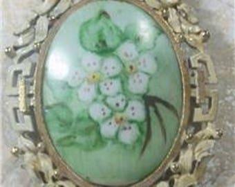 Floral Brooch-Pendant-Whitewashed-Frame  Vintage-Hand-Painted-Porcelain