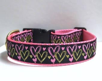 "1"" Pink & Gold Hearts Collar"
