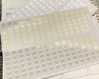 Foiled Dotted Heart Checklist Planner Stickers    30 Stickers