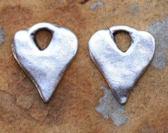 2 Antique Silver Rustic Heart Charms 16x13mm Nunn Designs Low Shipping