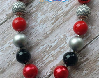 Skull Necklace, Skull Chunky Beads Necklace, Red and Black Skull Chunky Beads Necklace, Cross Skull Necklaces, Black and Red Skull Necklace.