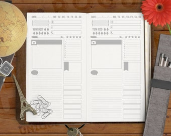 Snapshot Day Printable Insert - Daily Planner Insert - Midori Insert and Planner Insert - Minimalist Insert - Traveler's Notebook, Personal
