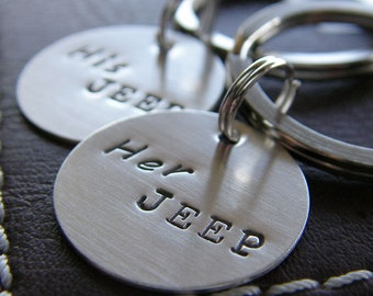 Custom Mini Keychain Set - Personalized Hand Stamped Sterling Silver - His Jeep Her Jeep Mini Key Chain Set