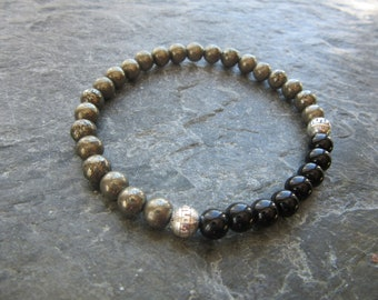 The pyrite and tourmaline 6mm bracelet! Stretch bracelet, black tourmaline 6mm, pyrite 6mm, Reiki infused