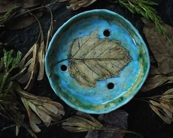 turquoise soap dish with holes botanical soap dish turquoise ceramic soap dish round soap dish blue soap dish leaf soap dish draining