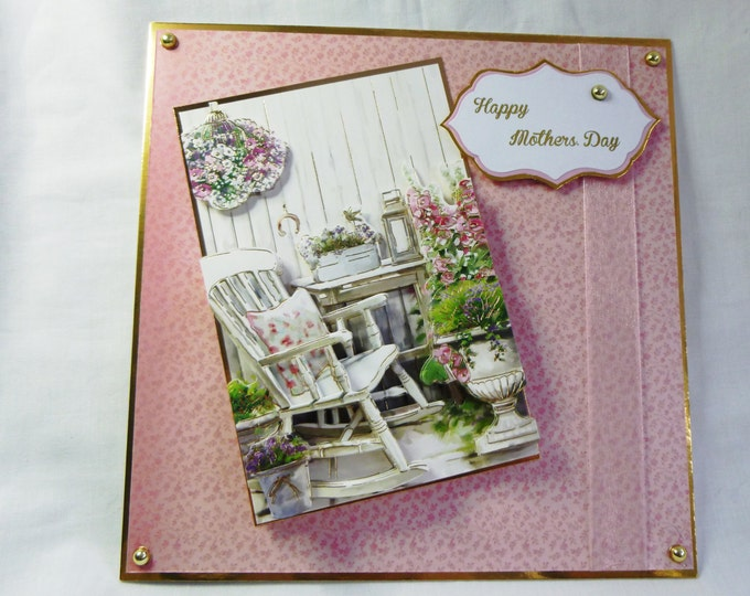 3 D Decoupage Card, Mothers Day Card, Greeting Card, Female. Any Age, Rocking Chair and Flowers, Pink and Gold. Mother, Mum
