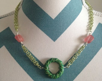 Short Green & Pink Necklace